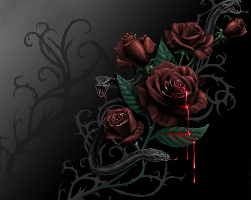 3d Dangerous Snake Wallpaper Desktop Blood Rose Blood And Roses Abstract Fantasy Hd Desktop
