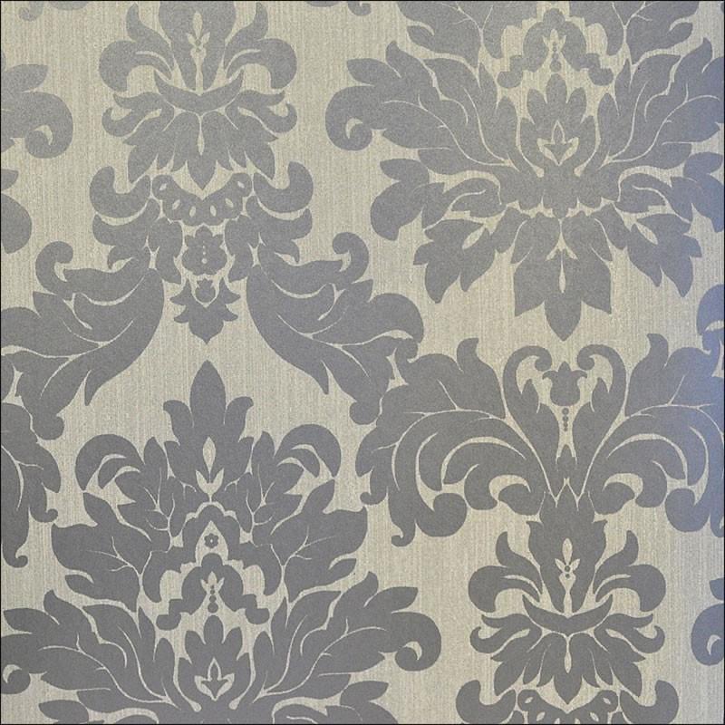 Black Grey Cream Stripe Wallpaper Versalles Silver Taupe Grey Damask 20108