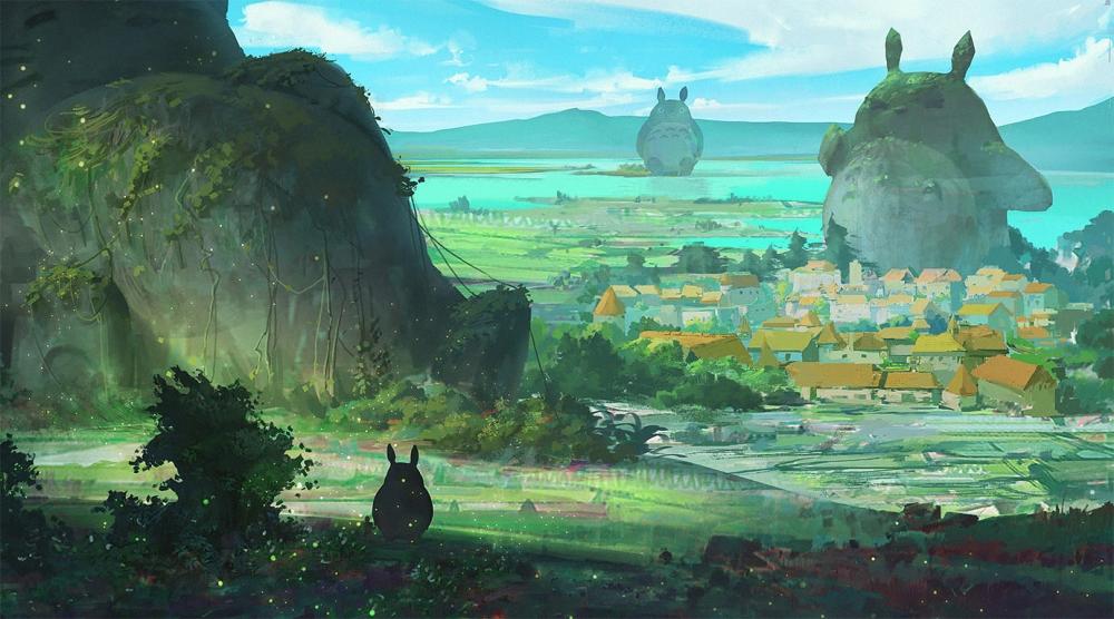Naruto Hd Wallpapers Widescreen Wallpaper Totoro Village Painting Mountain Statue