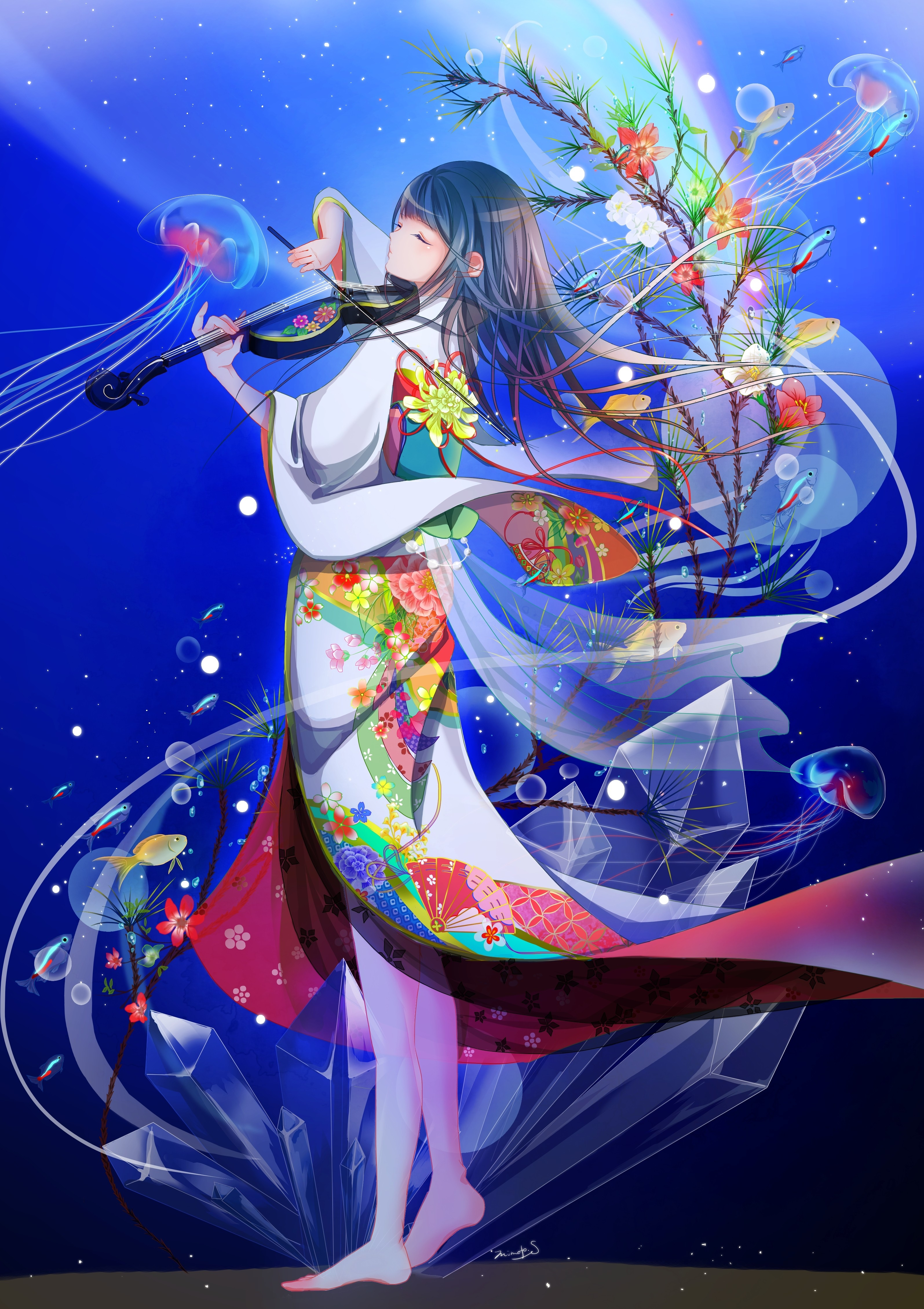 Kimono Anime Girl Android Wallpaper Download 3190x4518 Anime Girl Violin Japanese Outfit
