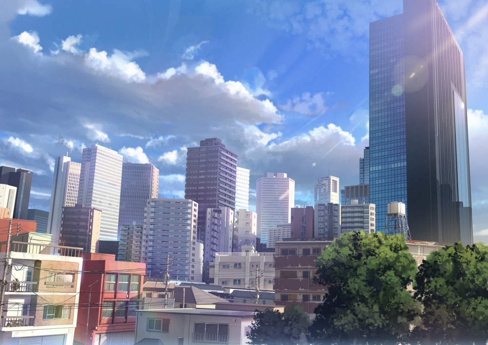 Iphone 4s Hd Wallpapers 1080p Wallpaper Anime Landscape City Buildings Realistic