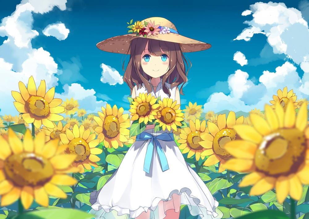 Cute Anime Couple Wallpaper For Iphone Wallpaper Anime Girl Sunflowers Field Land Summer