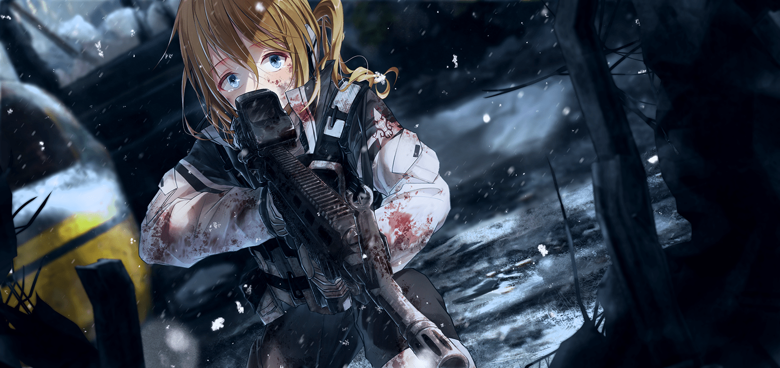 Neptunia 3d Desktop Wallpaper Download 1600x756 Anime Girl Military Scared Expression