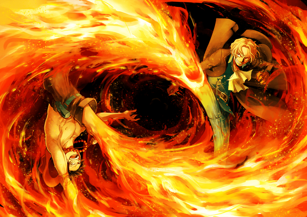 Hd Wallpapers For Laptop 15 6 Inch Screen Wallpaper One Piece Ace Sanji Fire Fight Wallpapermaiden