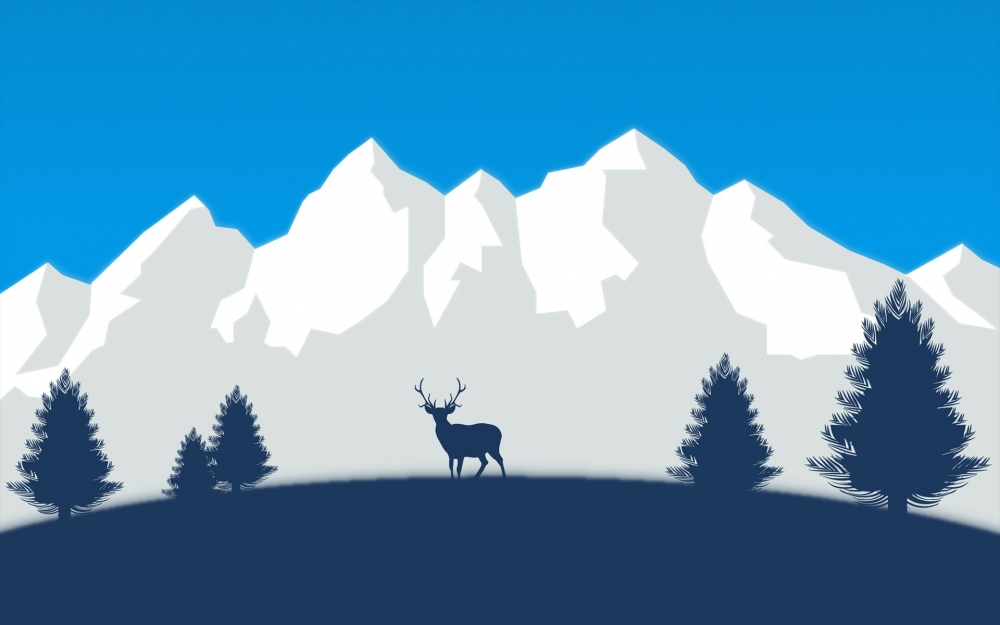 Electric Wallpaper 3d Download 3840x2160 Minimalism Deer Mountains Forest