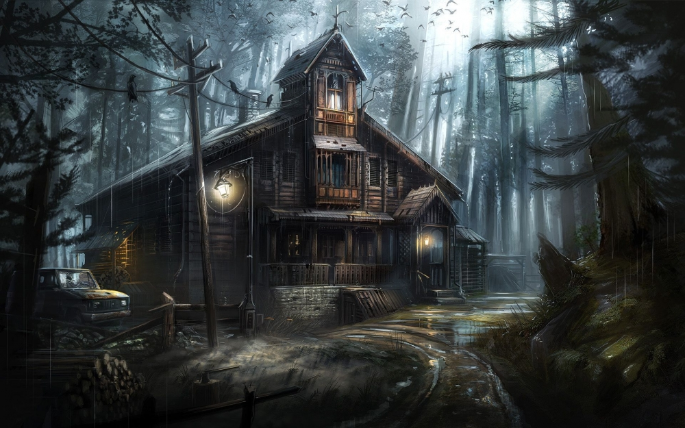 Iphone 4s Wallpaper Retina Wallpaper Dark Forest Crows Haunted House Horror