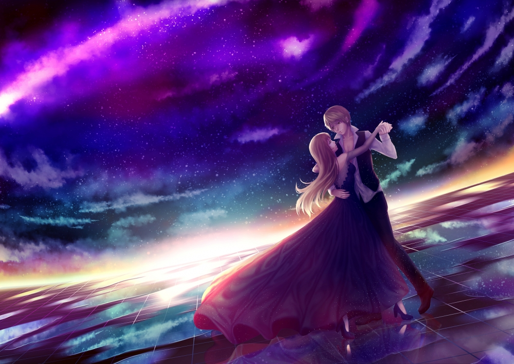 Fairy Tail Girls Wallpapers Download 2481x1754 Anime Couple Dancing Stars Sky