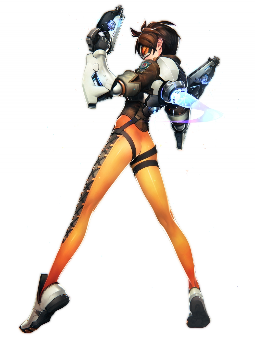 Wallpaper For Iphone 4s Black Wallpaper Overwatch Tracer Bodysuit Guns Back View