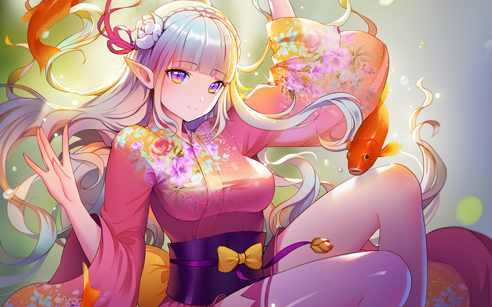 Kimono Anime Girl Android Wallpaper Wallpaper Re Zero Emilia Yukata Elf Ears White Hair