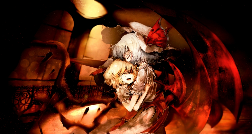 Crazy Iphone 5 Wallpapers Wallpaper Flandre Scarlet Crying Remilia Scarlet Hug