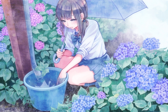 Sad Anime Girl Crying In The Rain Wallpaper Wallpaper Anime Girl Crying Raining School Uniform