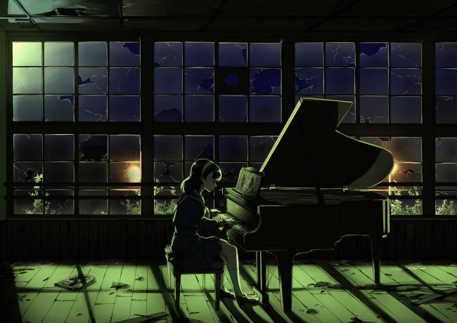 Hd Wallpapers For Laptop 15 6 Inch Screen Wallpaper Anime Girl Playing Piano Night Broken Glass