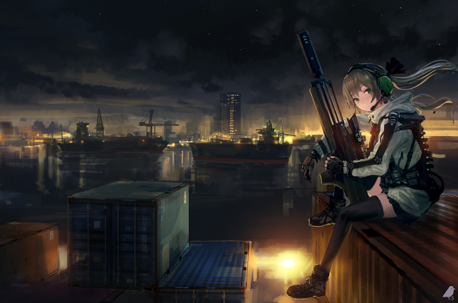 Hd Wallpapers For Laptop 15 6 Inch Screen Wallpaper Anime Girl Soldier Sitting Sniper Artwork