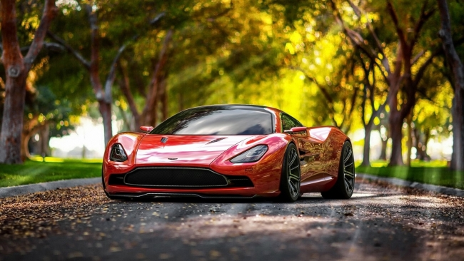 1600x2560 Car Wallpaper Wallpaper Aston Martin Front View Red Fall Supercar