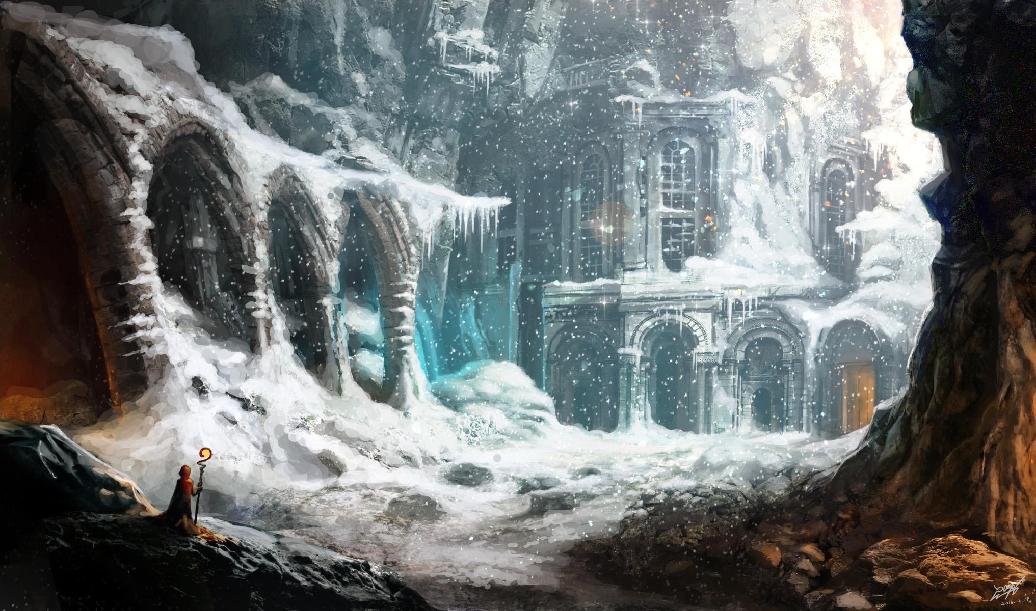 Android Phone Wallpaper 3d Download 2033x1200 Fantasy Landscape Magician Snow