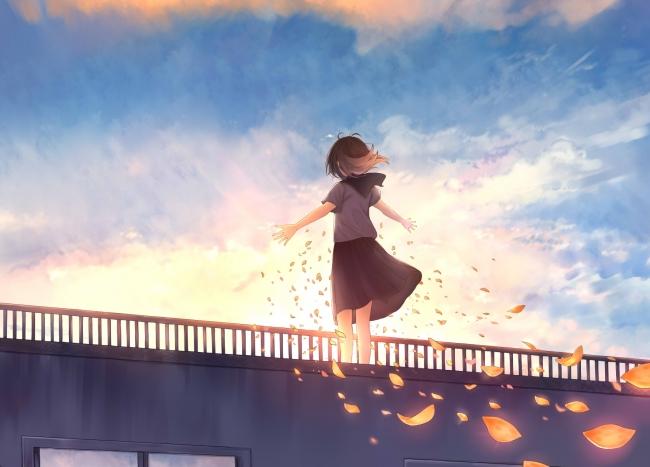 Quote Wallpaper For Sony Xperia Wallpaper Anime Girl School Uniform Petals Windy