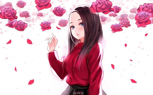 Pink Cute Wallpaper For Iphone 5 Wallpaper Anime Girl Rose Brown Hair Wallpapermaiden