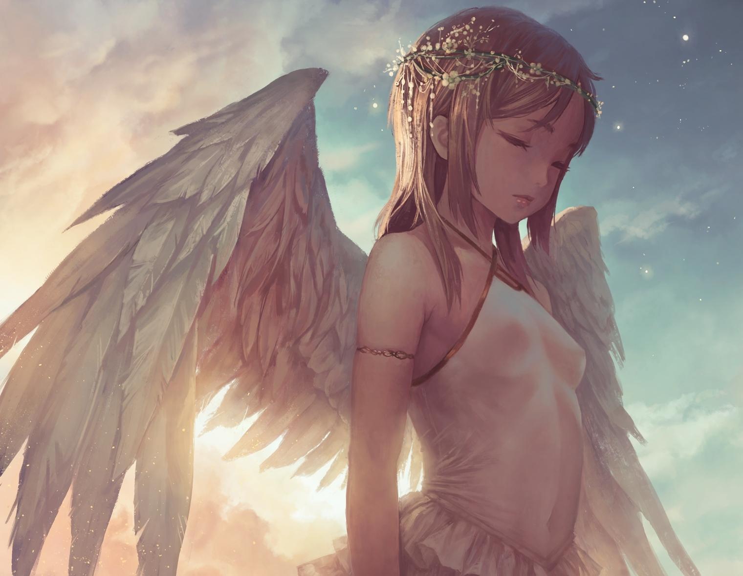 3d Space Phone Wallpaper Download 1520x1180 Angel Girl Wings Closed Eyes Blonde