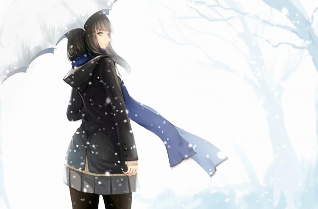 Sad Girl In Snow Wallpaper Wallpaper Anime Girl Snow Hood Umbrella Black Hair