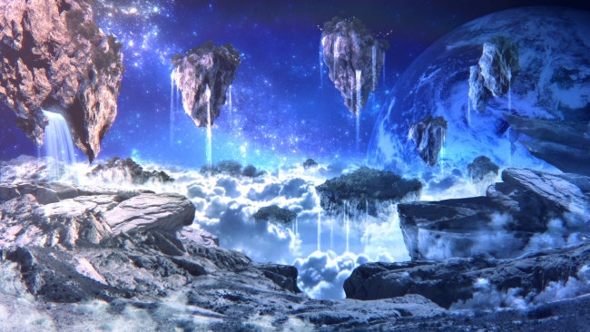 3d Wallpaper Widescreen Waterfalls Wallpaper Sci Fi Landscape Floating Islands Planet