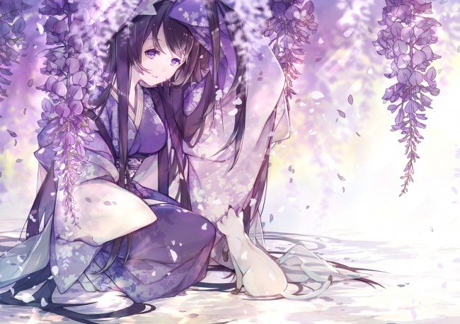 Kimono Anime Girl Android Wallpaper Wallpaper Anime Girl Kimono Flowers Black Hair Cat