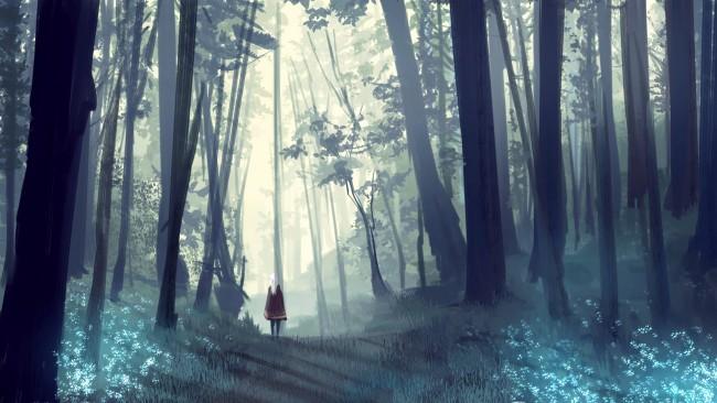 Alone Sad Girl Wallpaper For Pc Wallpaper Anime Girl Landscape Forest Cape White Hair