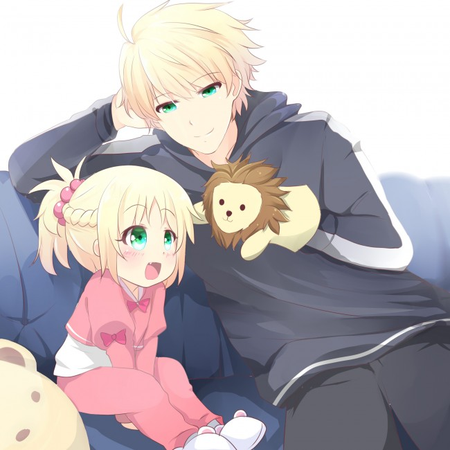 Cute Anime Couple Wallpaper Hd For Android Wallpaper Saber Child Version Father Cute Fate Grand