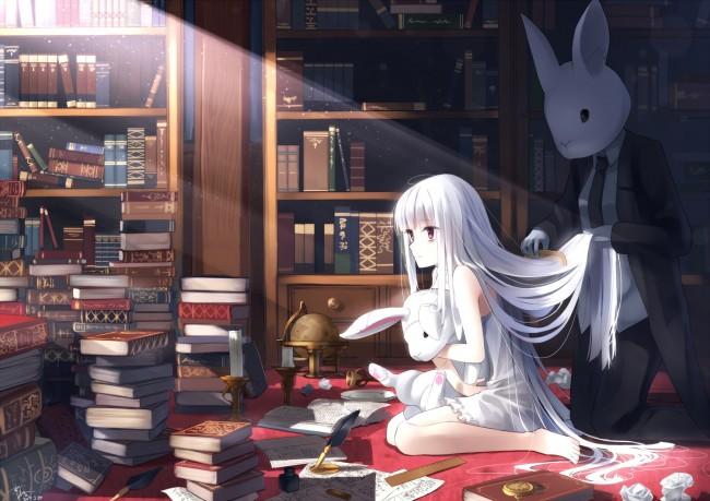 Anime Girl Studying Wallpaper Wallpaper Anime Girl White Hair Library Sitting Bunny