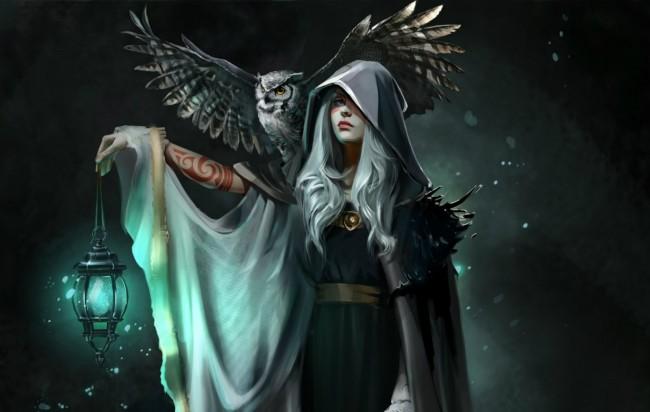 Goth Girl Wallpaper 1440x2960 Wallpaper Fantasy Women Hood Owl Lantern Tattoo White