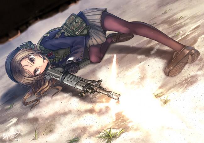 Iphone 5s Wallpaper Anime Wallpaper Anime Girl Soldier Gun Gloves Skirt