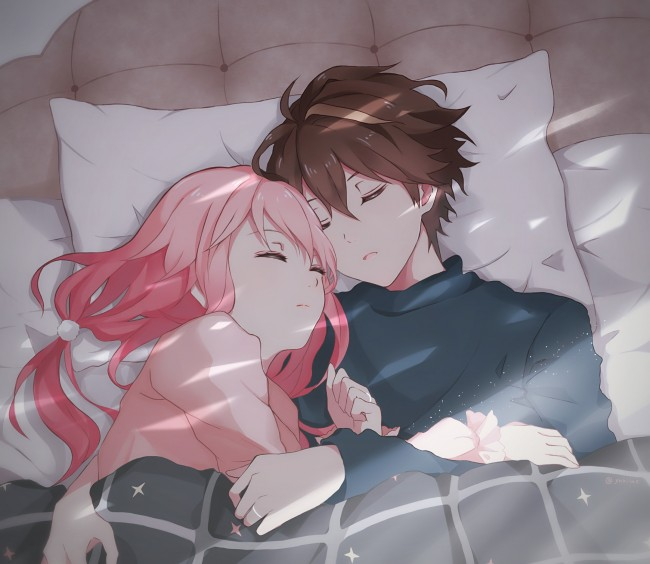 Cute Boy Wallpaper Hd Download Wallpaper Ouma Shu Yuzuriha Inori Sleeping Couple