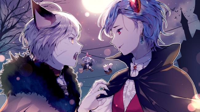 Cute Anime Couple Cuddling Wallpaper Hd Wallpaper Anime Boys Vampire Teeth Animal Ears Cape
