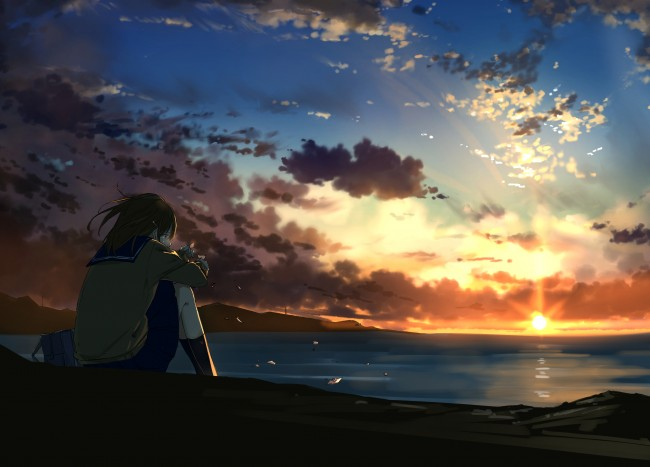 Falling Down Wallpaper Wallpaper Anime Girl Crying Lonely Sunset Clouds