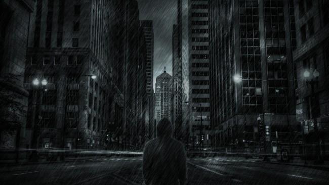 Wallpaper Dark Mood, Man, Raining, Skyscrapers, Hoodie, Back View