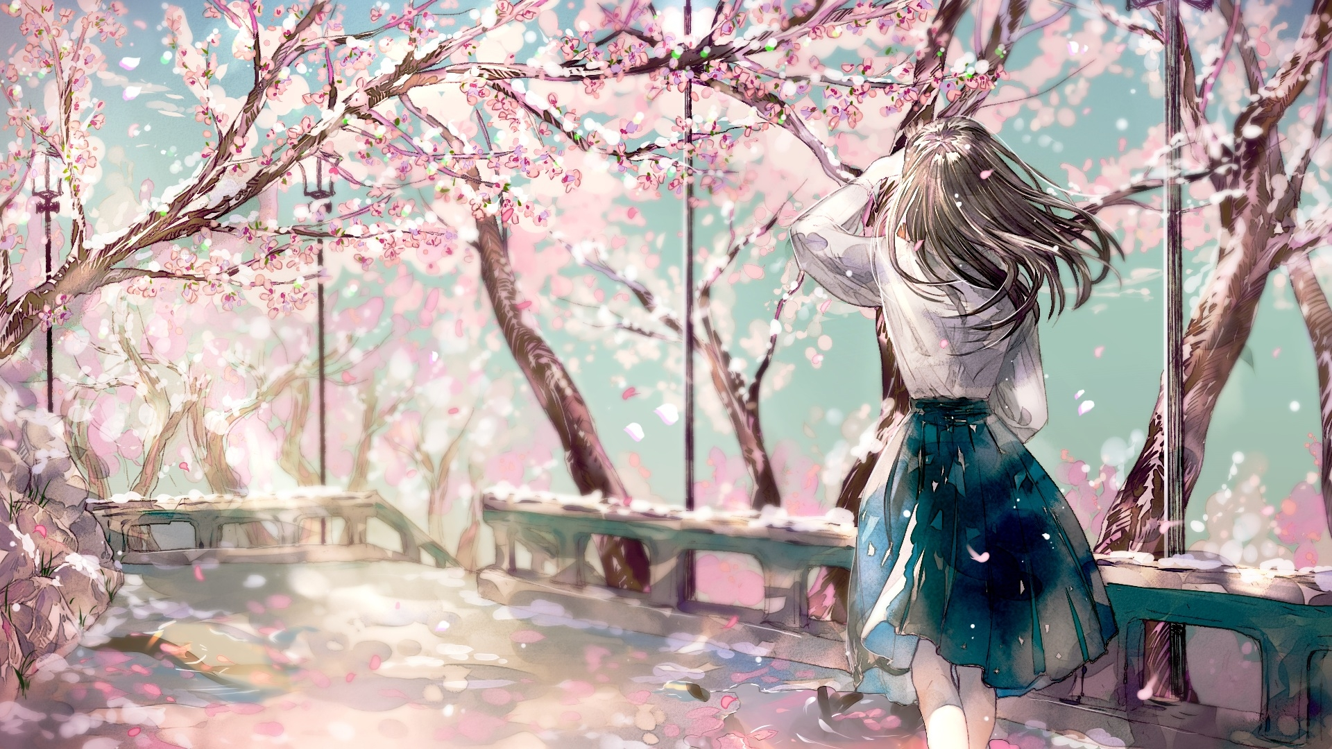 1680x1050 Fall Wallpaper Download 1920x1080 Cherry Blossom Sakura Anime Girl