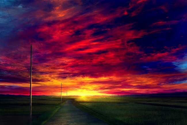 Samsung Galaxy S8 Wallpaper Hd Wallpaper Anime Landscape Sunset Red Sky Realistic