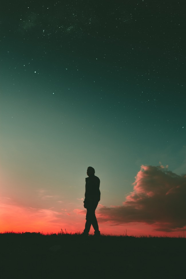 Samsung Galaxy 3d Wallpapers Free Download Wallpaper Man Walking Stars Silhouette Clouds