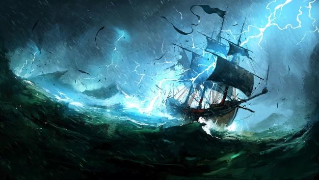 Famous Paintings Wallpaper Iphone Wallpaper Sailing Ship Storm Lightning Waves Ocean