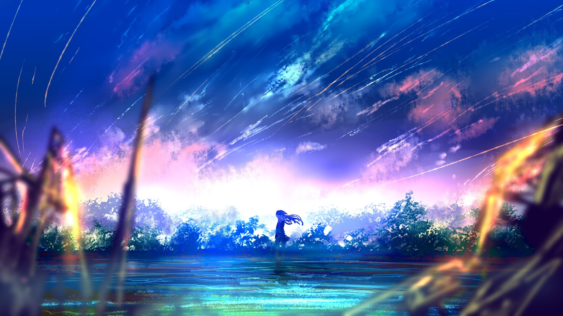 Iphone X Hd Wallpaper Space Download 1920x1080 Anime Girl Falling Stars Scenic