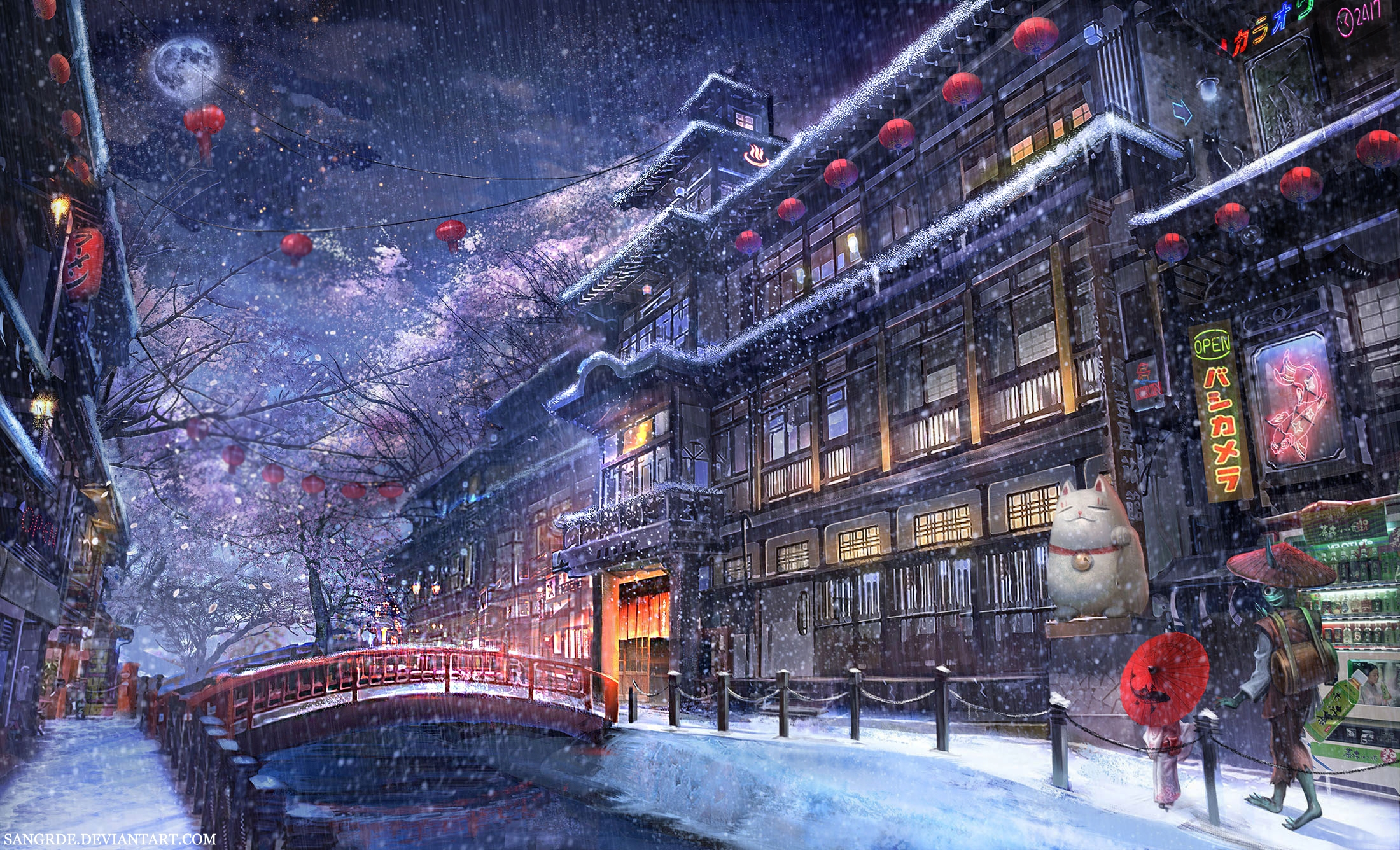 Wallpapers 1600x900 Cars Download 1920x1080 Anime Traditional City Raining Snow