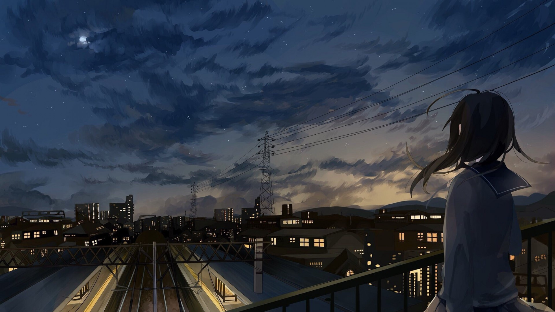 1600x2560 Car Wallpaper Download 1920x1080 Anime Girl City Night Clouds Back