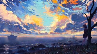 Download 2880x1800 Anime Landscape, Sea, Ships, Colorful, Clouds, Scenic, Tree, Horizon ...