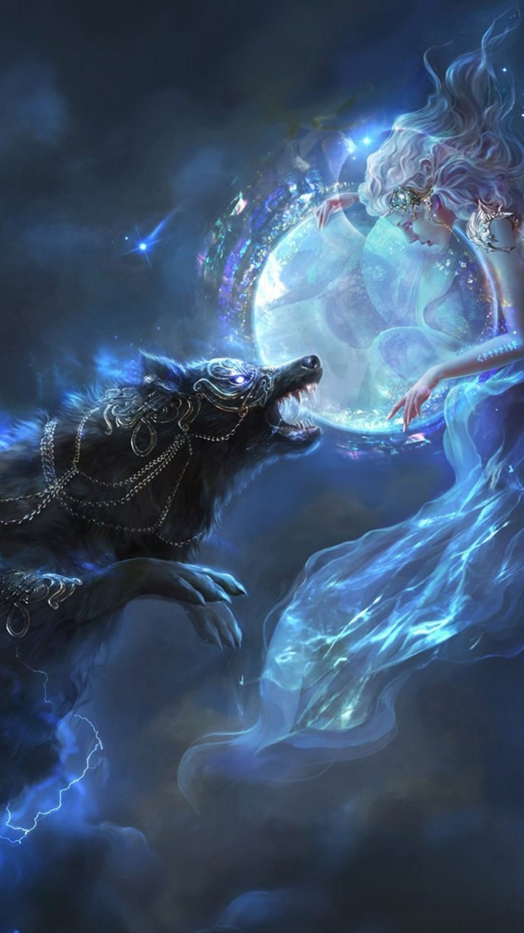 Ice Wolf 3d Wallpaper Download Download 1080x1920 Fantasy Girl Wolf Lights Stars