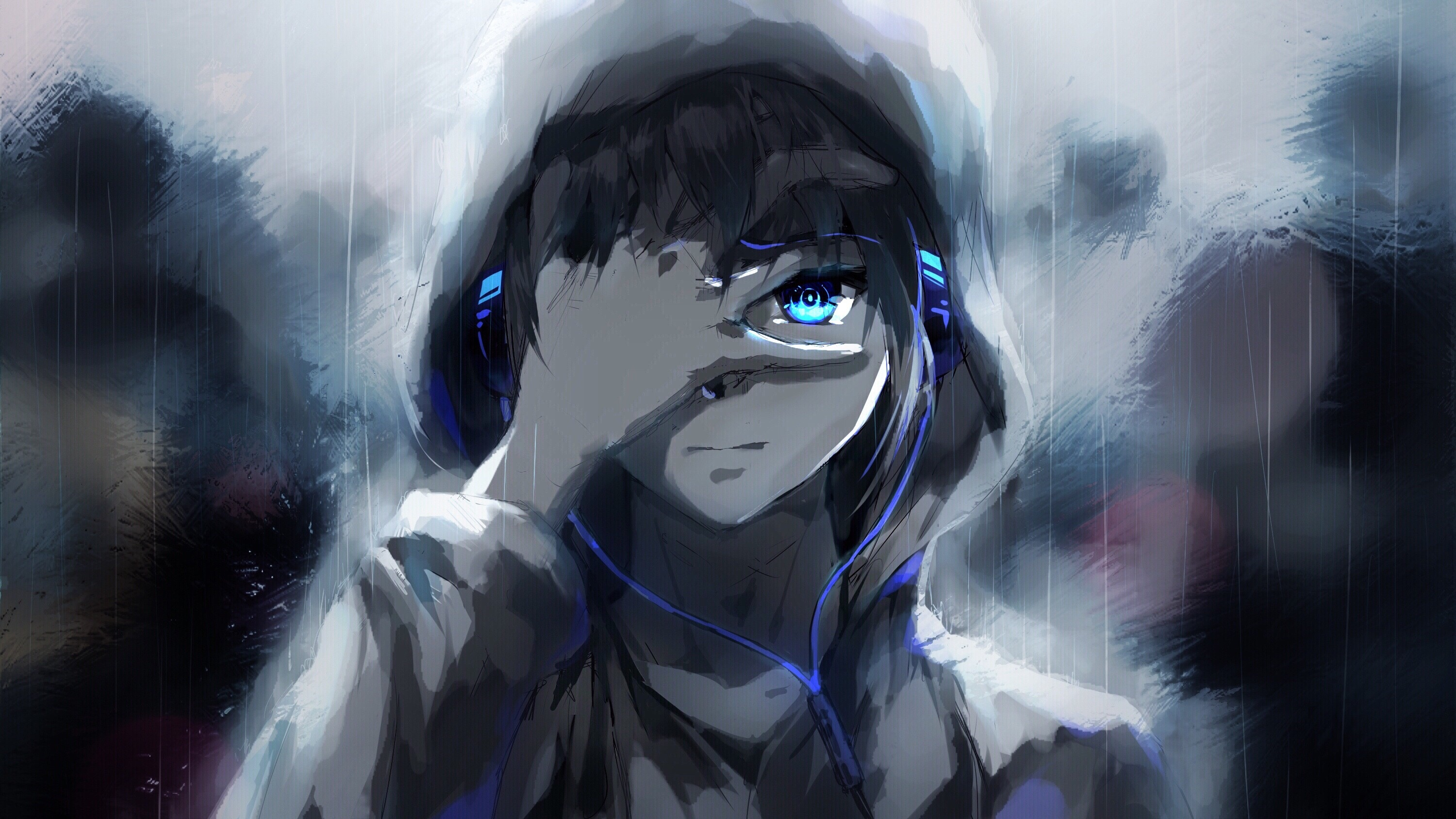 Iphone 7 Wallpaper Size Download 1920x1080 Anime Boy Hoodie Blue Eyes