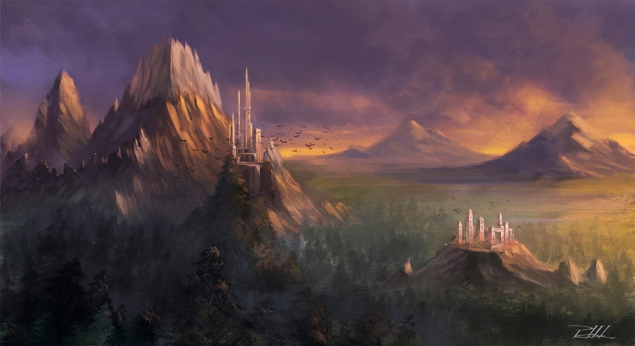 Calming Fall Wallpaper Hd Download 3840x2160 Fantasy Landscape Castle Mountain