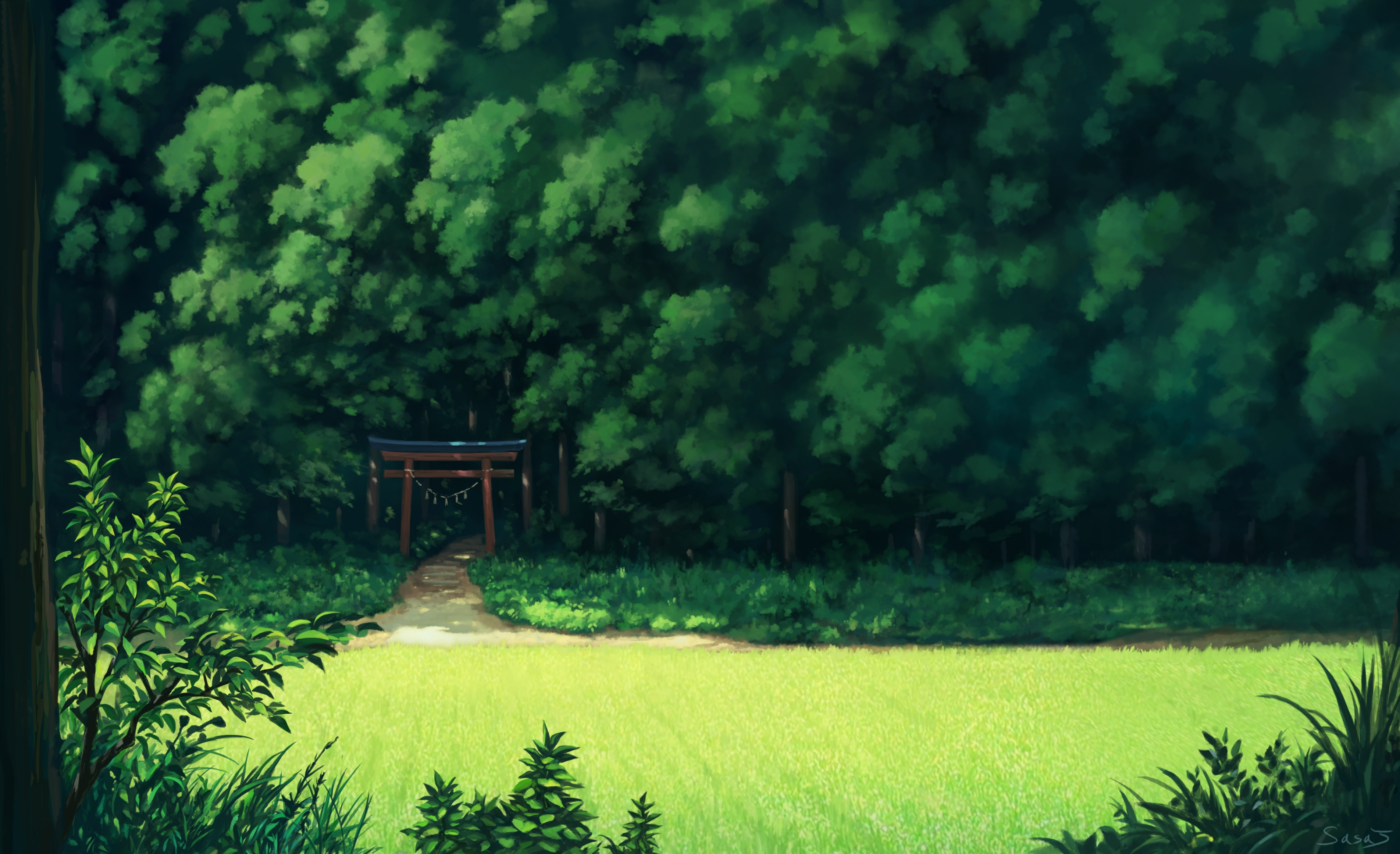 Best 3d Animated Wallpapers For Android Download 2560x1440 Anime Landscape Forest Trees Grass