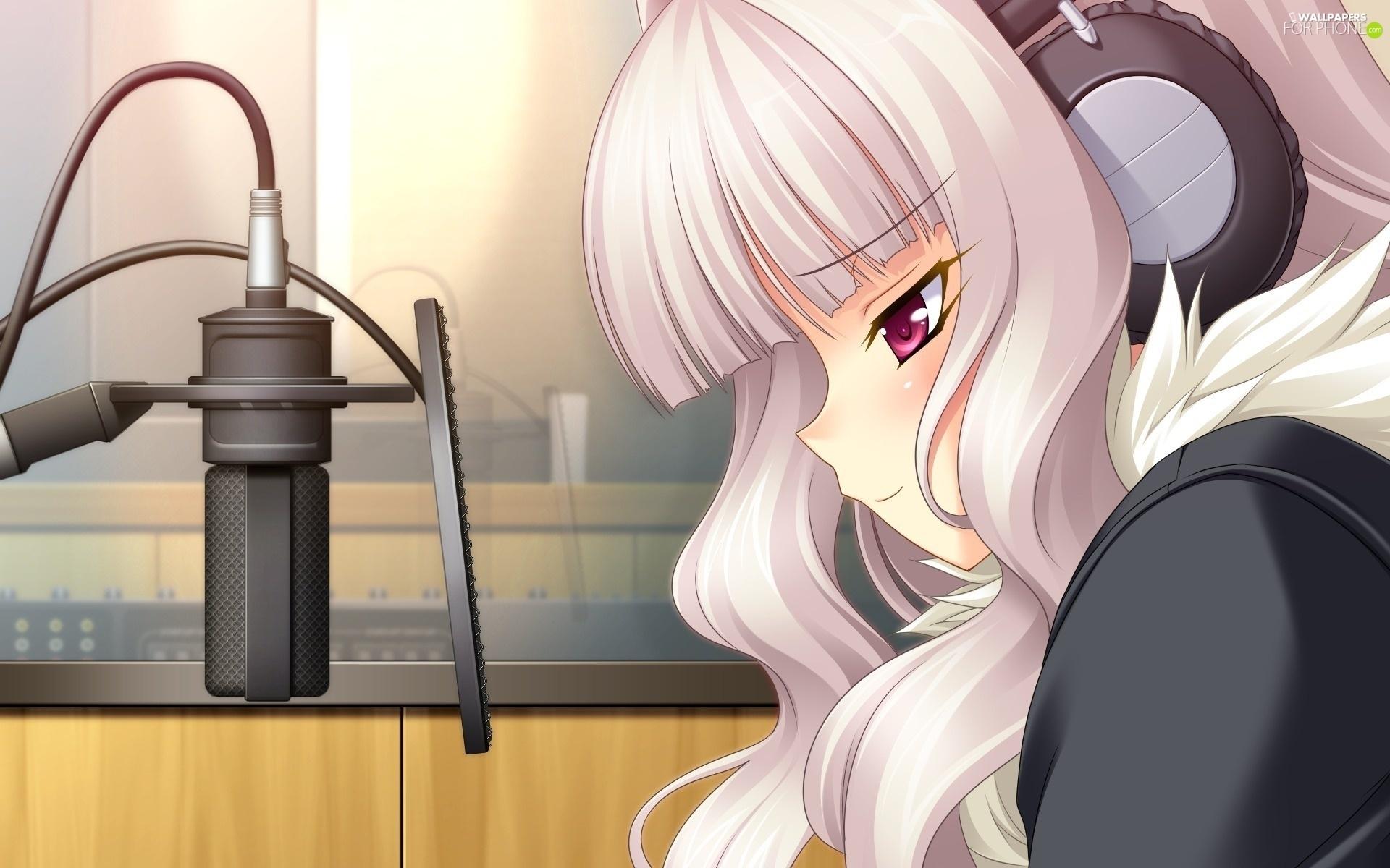 Headphone Girls Night Hd Wallpapers 1920x1080 Manga Anime Girl Headphones Mike For Phone