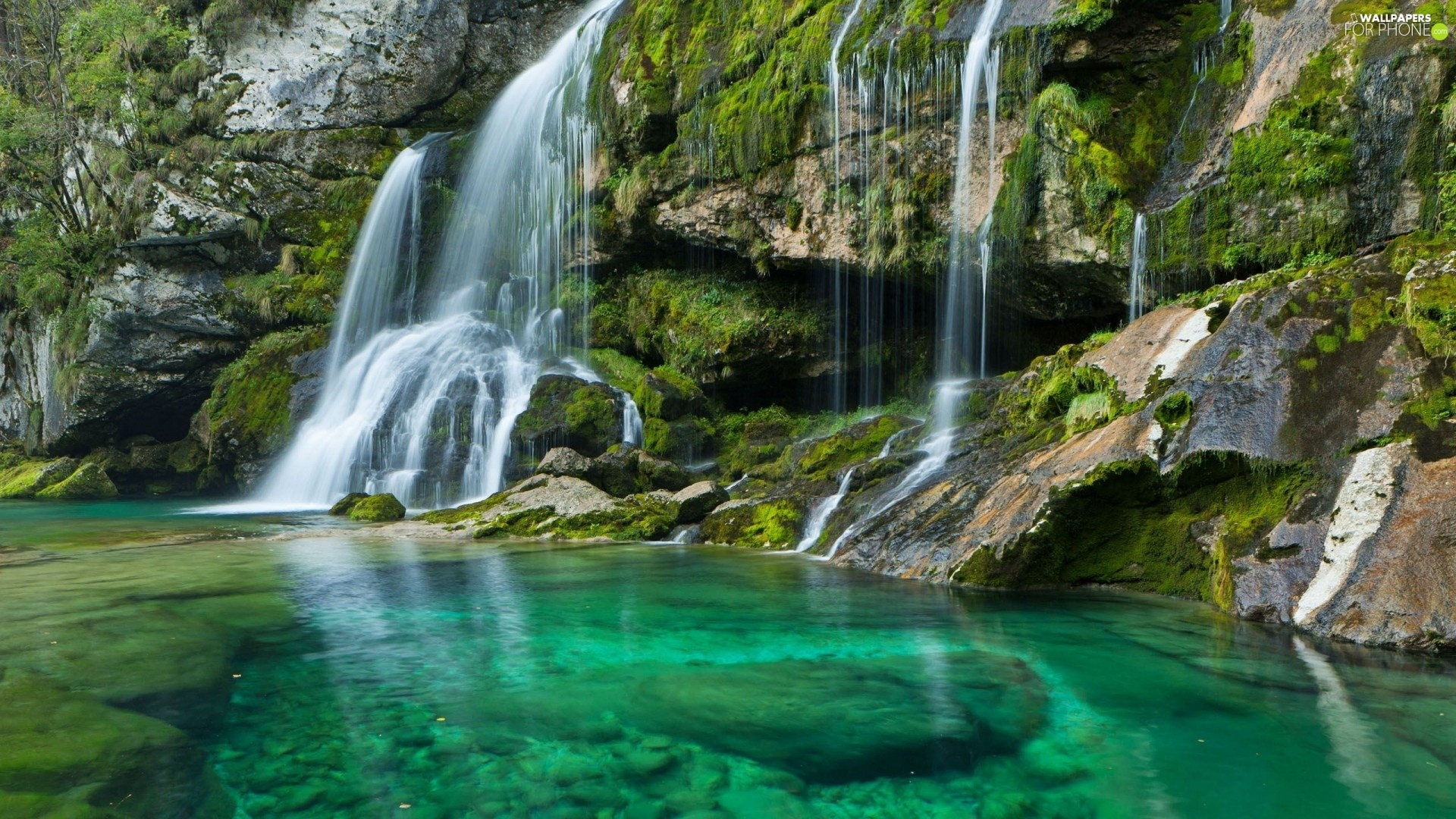 Wallpaper Hd 1920x1080 Fall Waterfall Lake Slovenia Rocks For Phone Wallpapers