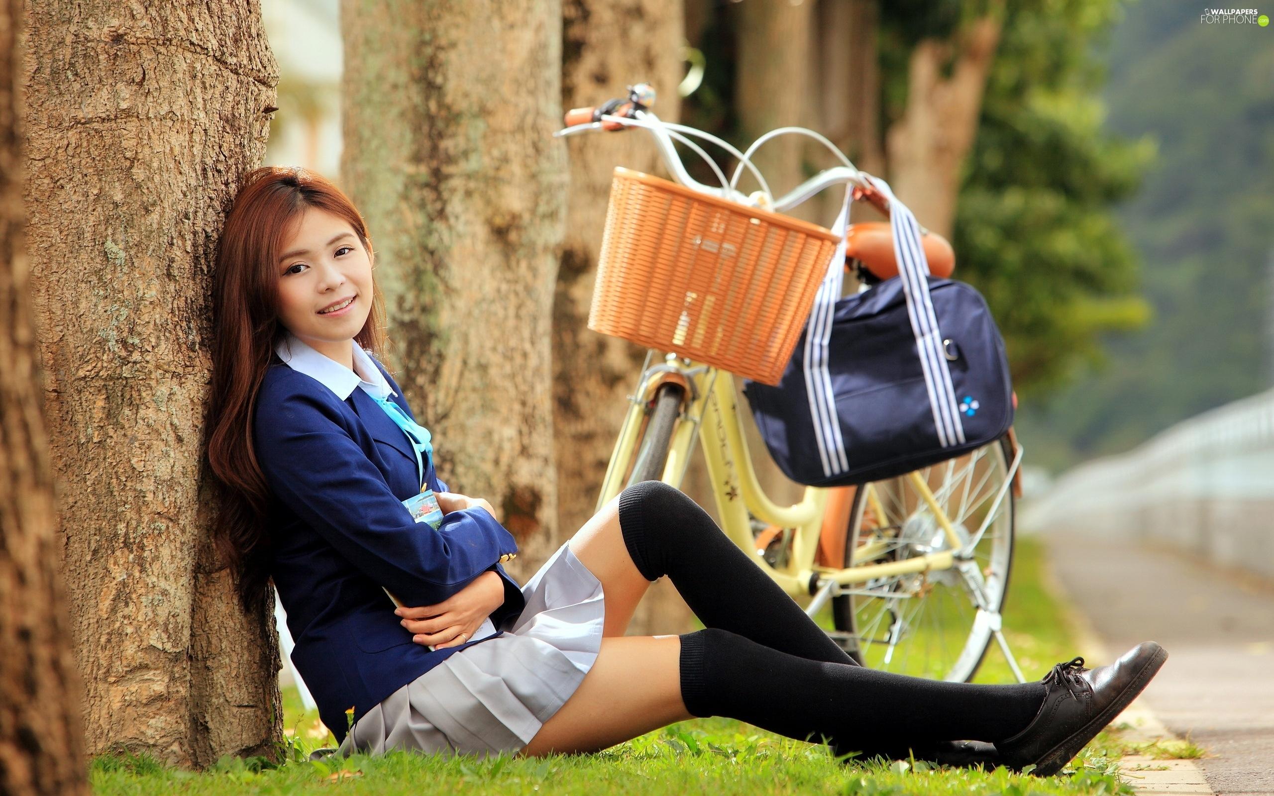 Girl On Bike Hd Wallpaper Way Smiling Viewes Bike Trees Japanese Girl For
