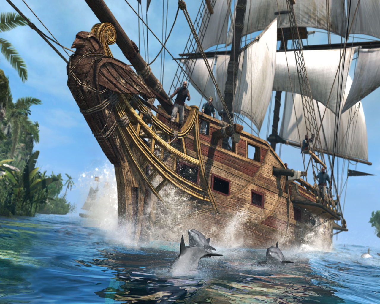 Hd Wallpaper Cars 2015 Pirate Ship Accompanied By Dolphins Hd Wallpaper